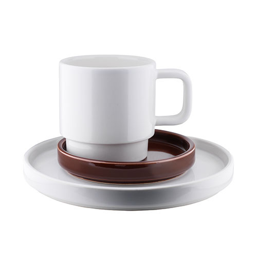 Café Cup on two plates