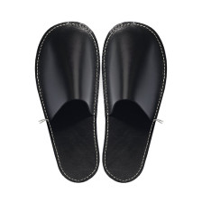 C.A. Lindberg, leather slippers – black